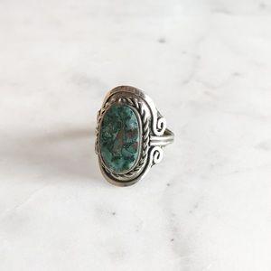 Chrysocolla Gemstone Peruvian Silver Ring